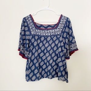 Lucky Brand Boho Embroidered Patterned Top